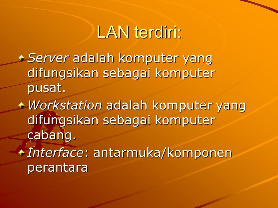 LAN terdiri: Server adalah komputer yang difungsikan sebagai komputer pusat. Workstation adalah komputer yang difungsikan sebagai komputer cabang.