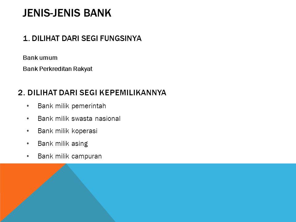 JENIS-JENIS BANK 1. Dilihat dari segi fungsinya