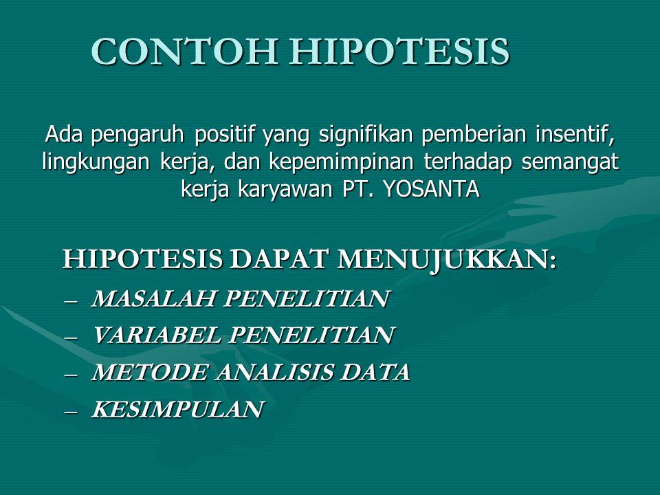 CONTOH HIPOTESIS HIPOTESIS DAPAT MENUJUKKAN: MASALAH PENELITIAN