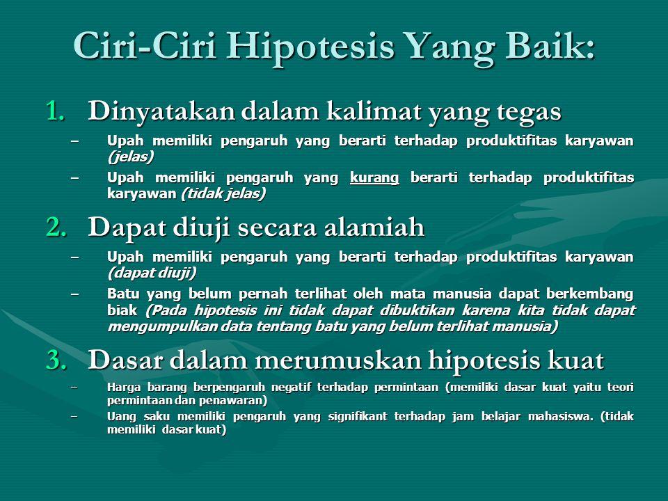 Ciri-Ciri Hipotesis Yang Baik: