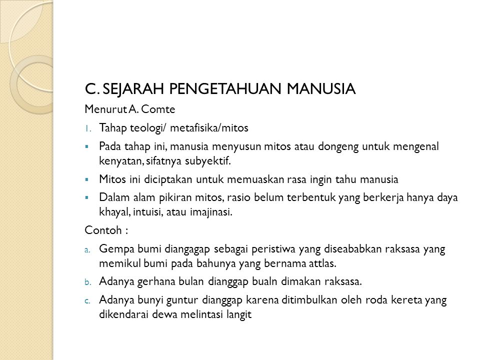 C. SEJARAH PENGETAHUAN MANUSIA