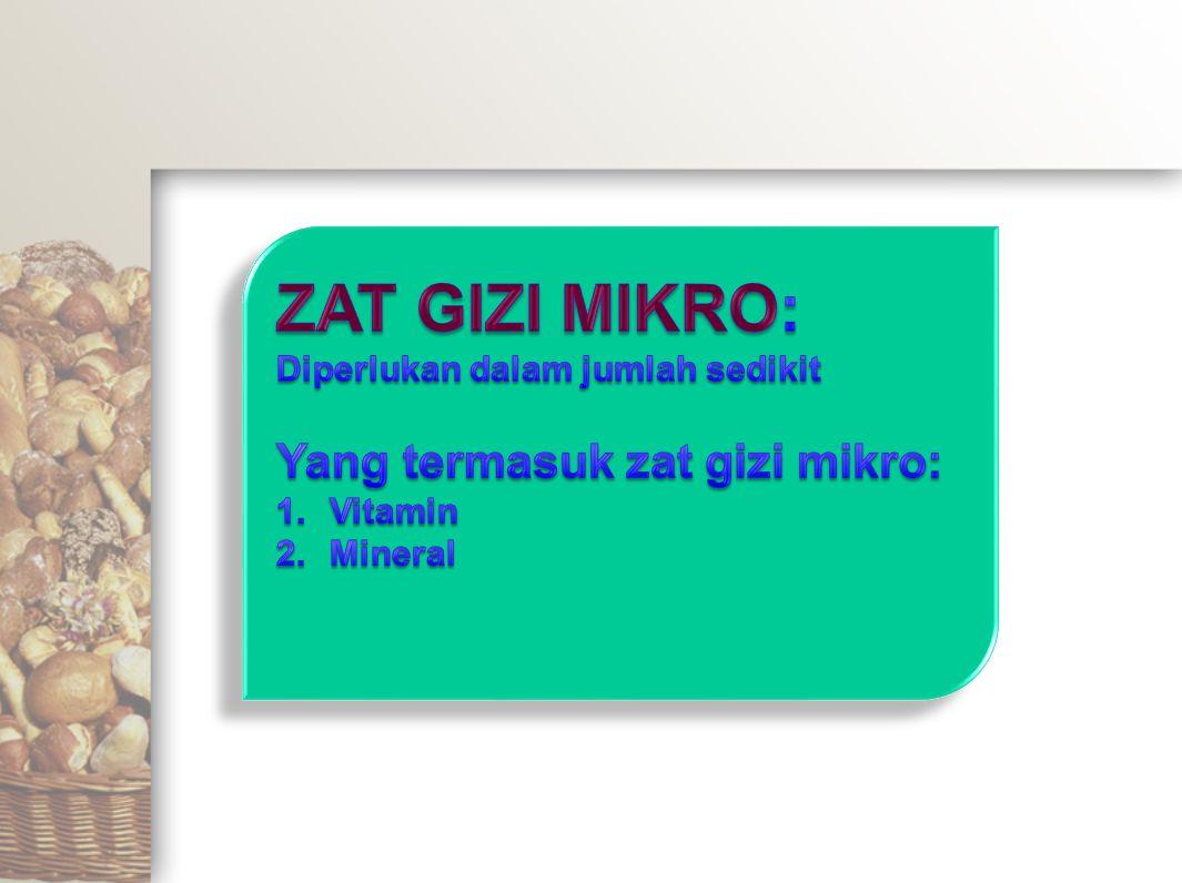 ZAT GIZI MIKRO: Yang termasuk zat gizi mikro:
