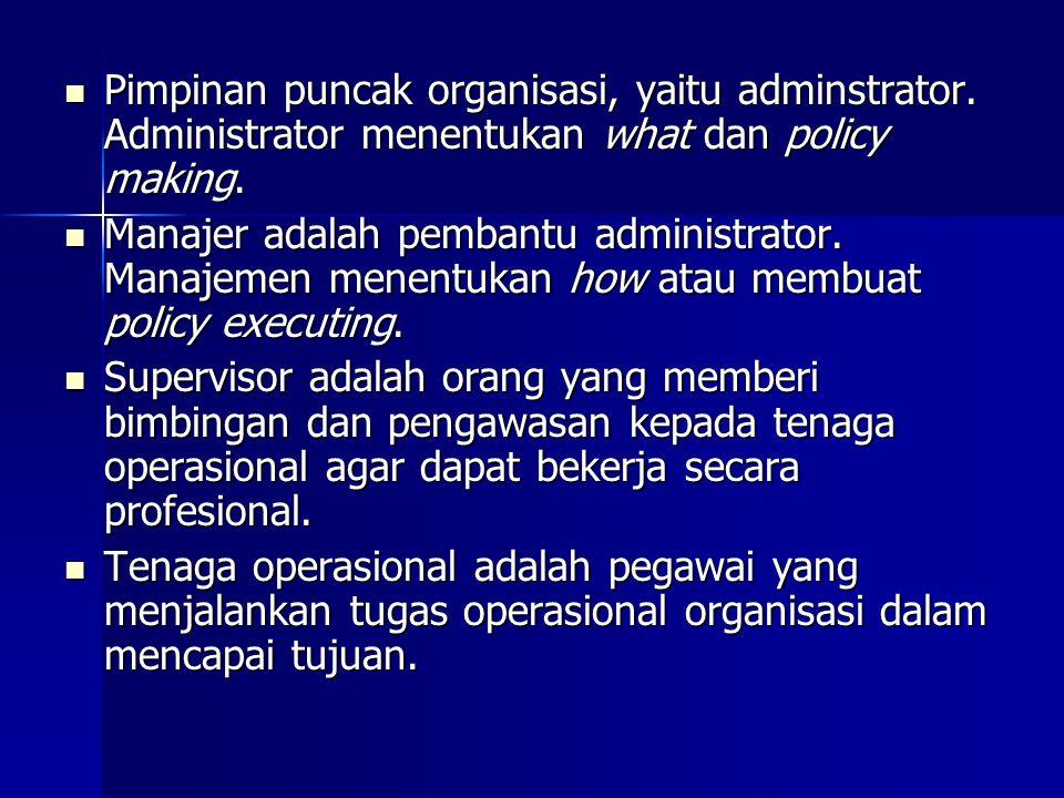 Pimpinan puncak organisasi, yaitu adminstrator