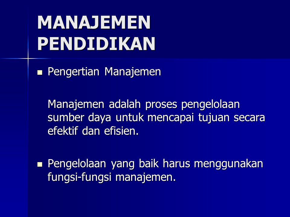 MANAJEMEN PENDIDIKAN Pengertian Manajemen