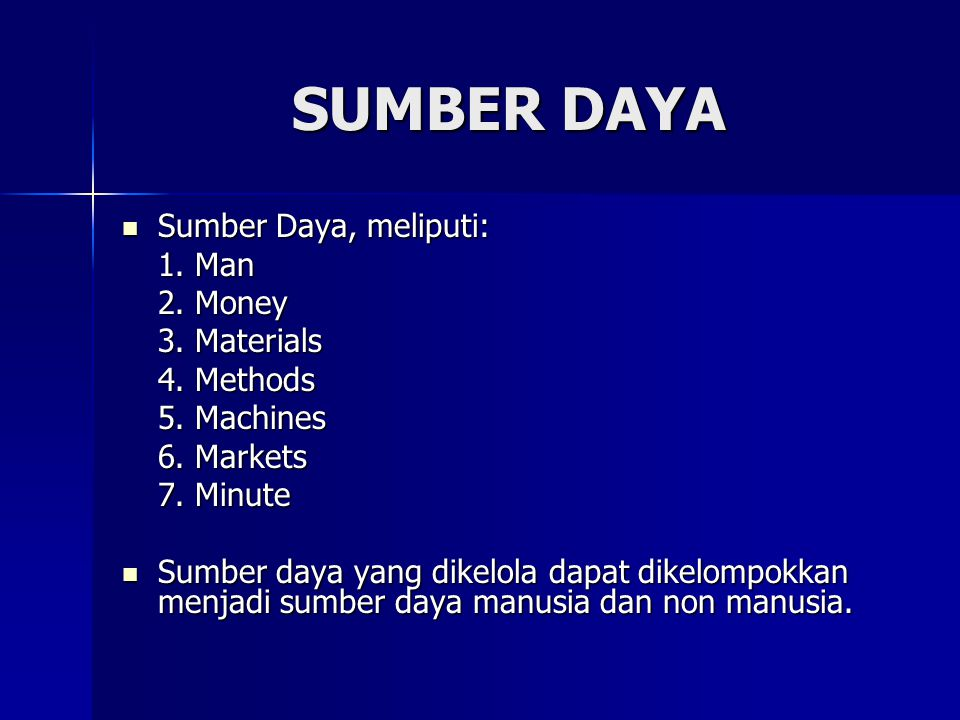 SUMBER DAYA Sumber Daya, meliputi: 1. Man 2. Money 3. Materials
