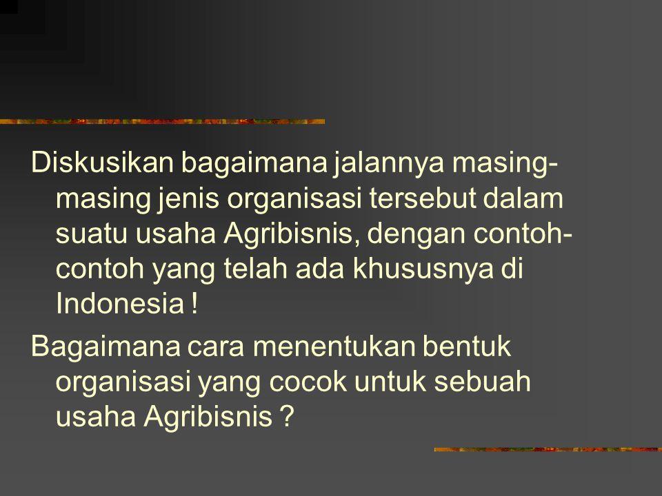 Diskusikan bagaimana jalannya masing-masing jenis organisasi tersebut dalam suatu usaha Agribisnis, dengan contoh-contoh yang telah ada khususnya di Indonesia .