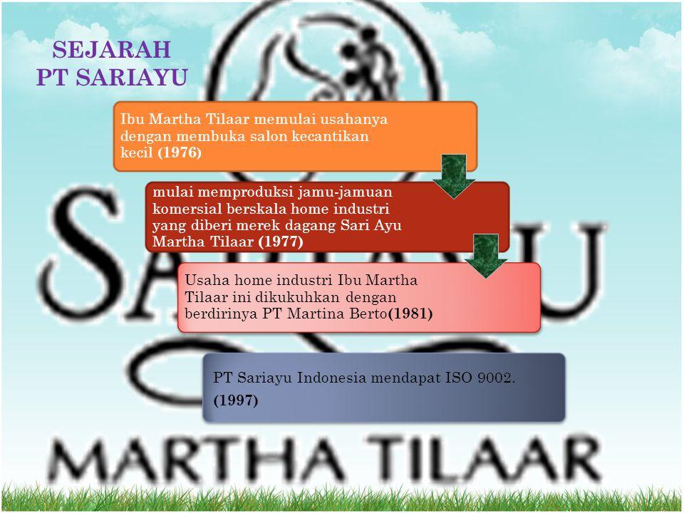 SEJARAH PT SARIAYU. Ibu Martha Tilaar memulai usahanya dengan membuka salon kecantikan kecil (1976)