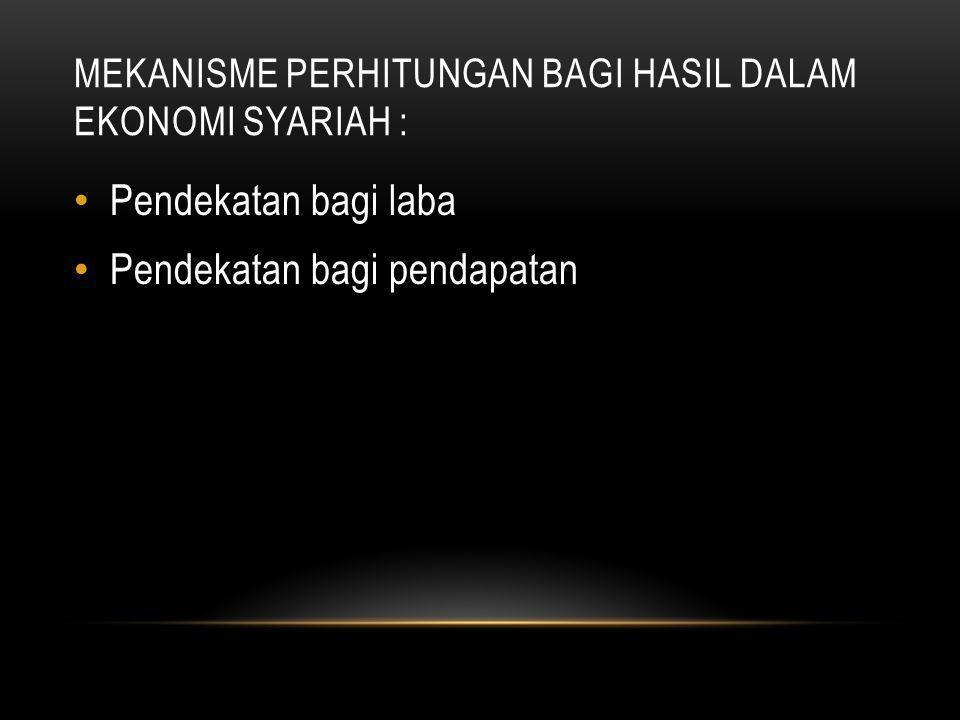 Mekanisme perhitungan bagi hasil dalam ekonomi syariah :