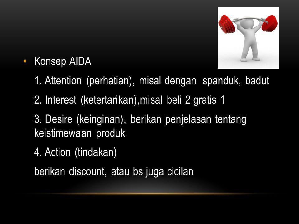 Konsep AIDA 1. Attention (perhatian), misal dengan spanduk, badut. 2. Interest (ketertarikan),misal beli 2 gratis 1.