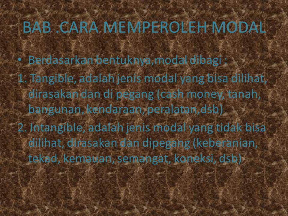 BAB .CARA MEMPEROLEH MODAL