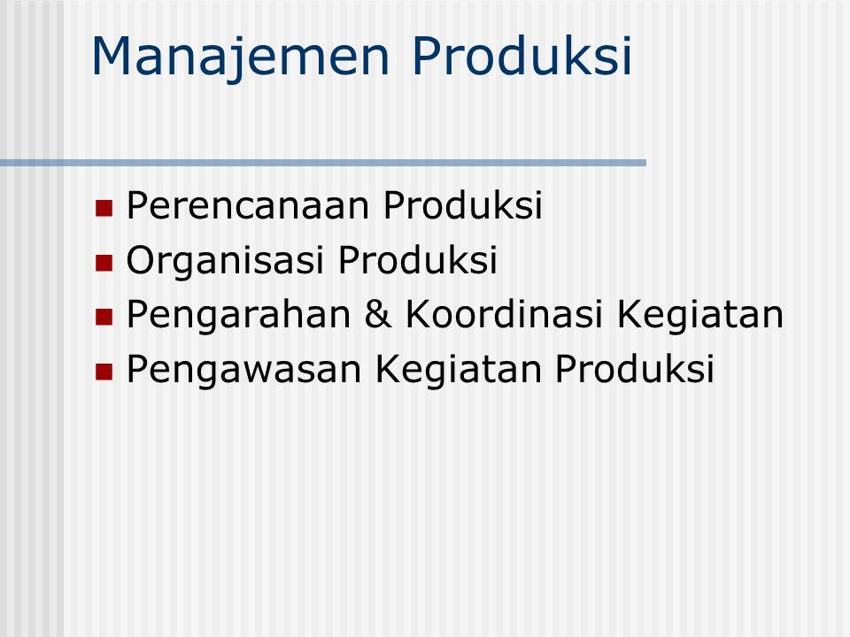 Manajemen Produksi Perencanaan Produksi Organisasi Produksi