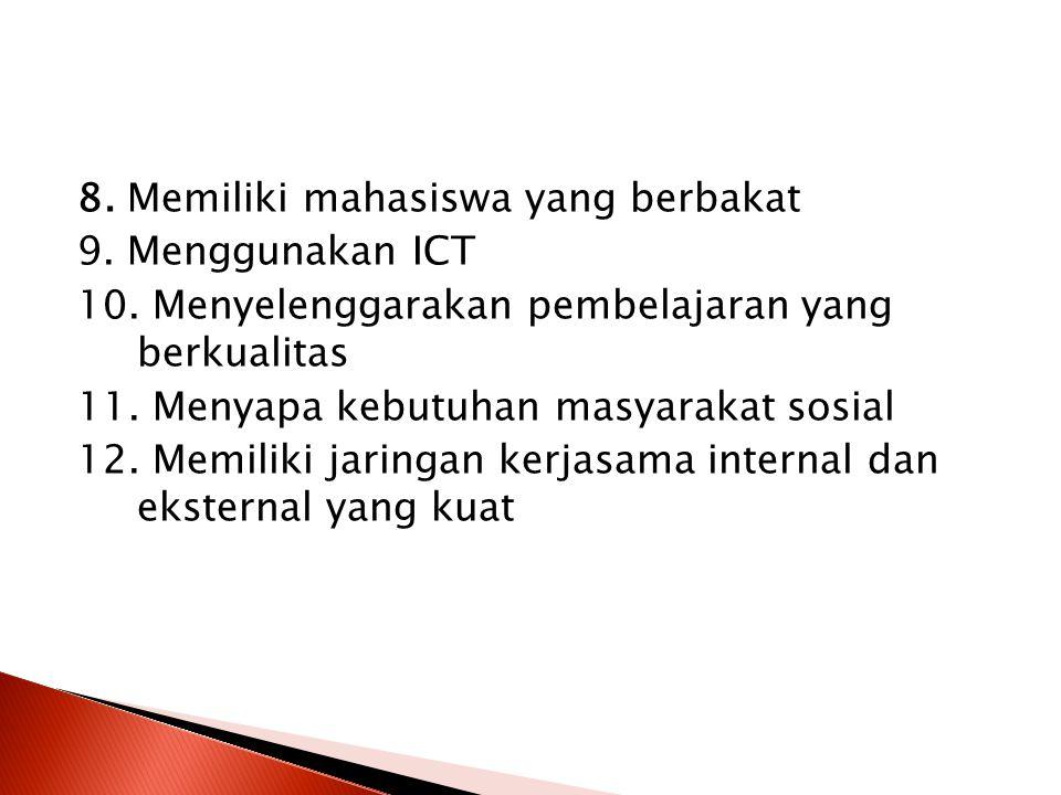 8. Memiliki mahasiswa yang berbakat 9. Menggunakan ICT 10