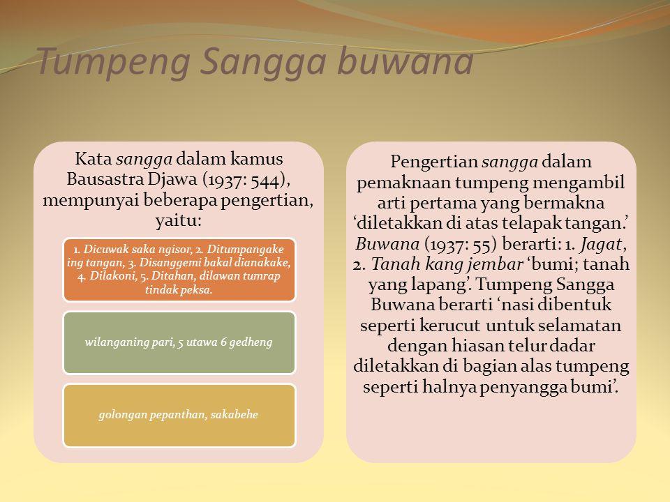 Tumpeng Sangga buwana Kata sangga dalam kamus Bausastra Djawa (1937: 544), mempunyai beberapa pengertian, yaitu: