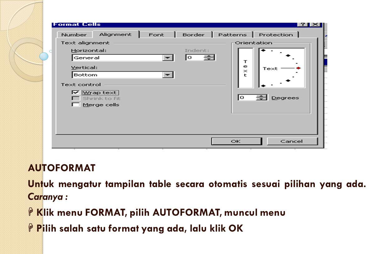 AUTOFORMAT Untuk mengatur tampilan table secara otomatis sesuai pilihan yang ada. Caranya :  Klik menu FORMAT, pilih AUTOFORMAT, muncul menu.