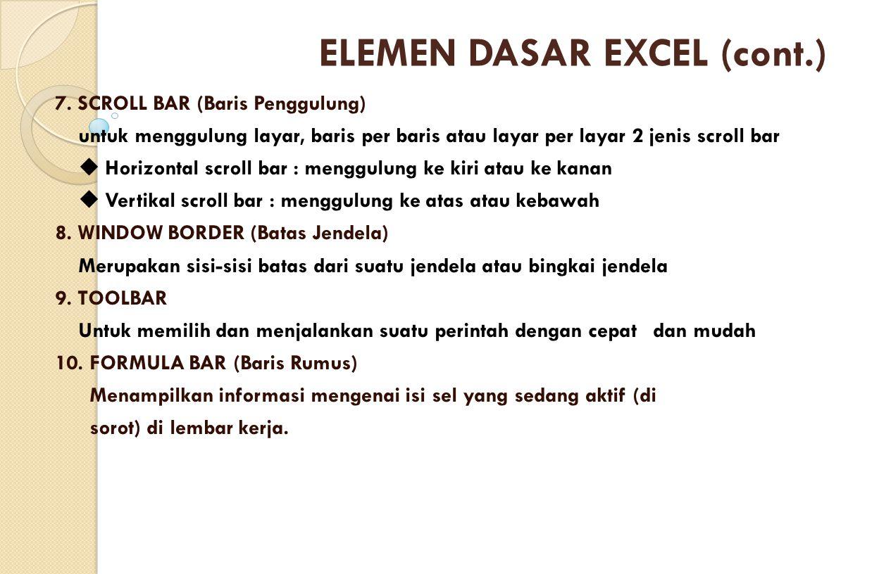 ELEMEN DASAR EXCEL (cont.)