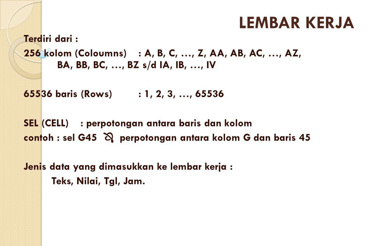 LEMBAR KERJA Terdiri dari :