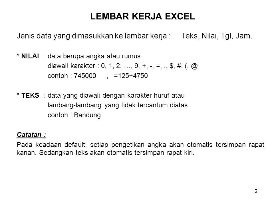 LEMBAR KERJA EXCEL Jenis data yang dimasukkan ke lembar kerja : Teks, Nilai, Tgl, Jam. * NILAI : data berupa angka atau rumus.