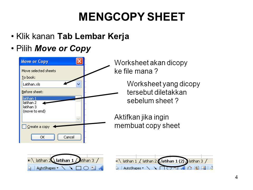 Klik kanan Tab Lembar Kerja Pilih Move or Copy