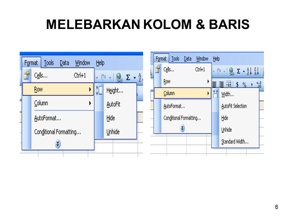 MELEBARKAN KOLOM & BARIS
