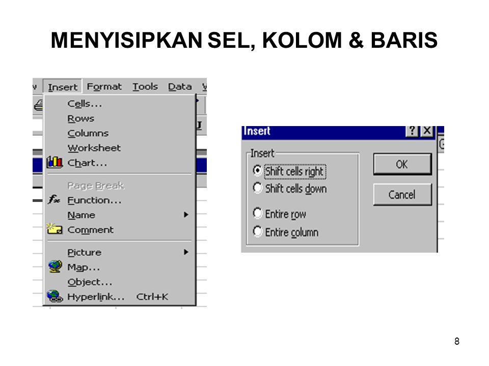 MENYISIPKAN SEL, KOLOM & BARIS