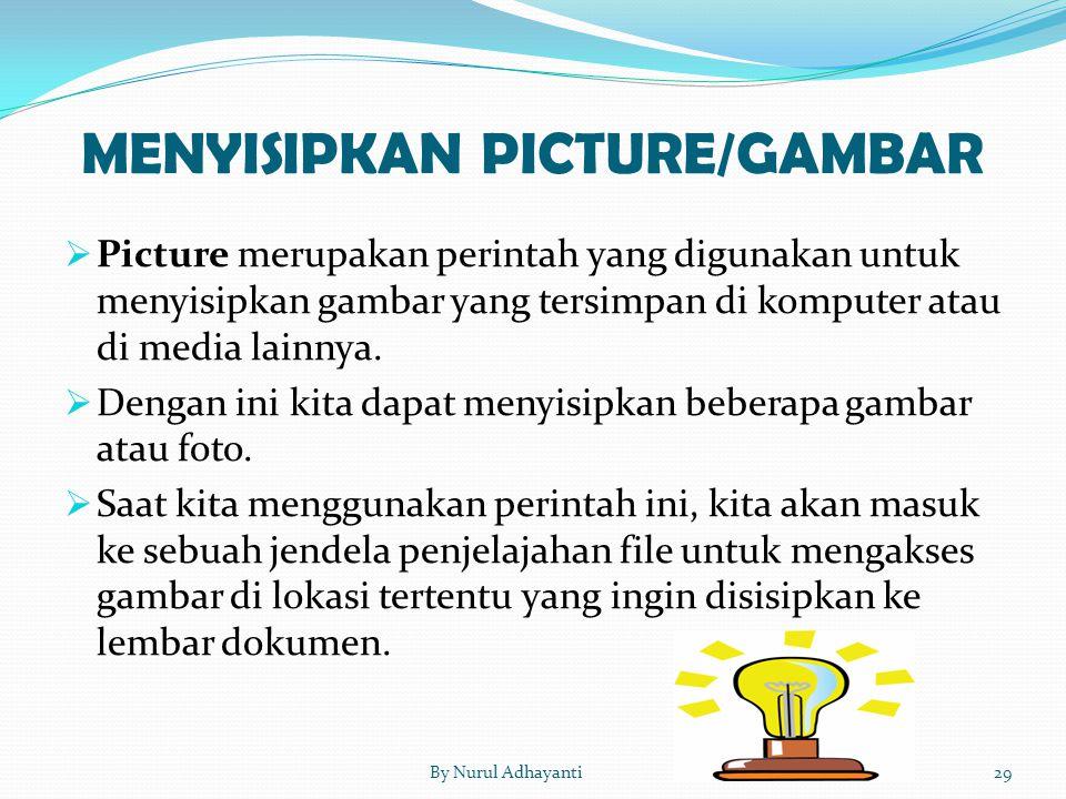 MENYISIPKAN PICTURE/GAMBAR