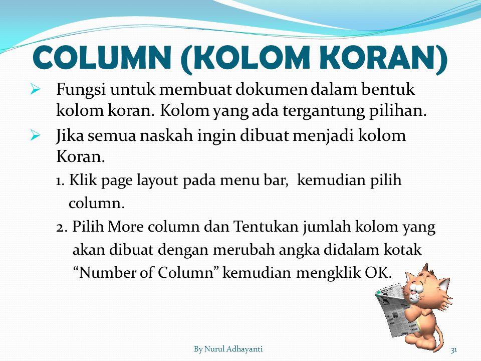 COLUMN (KOLOM KORAN) Fungsi untuk membuat dokumen dalam bentuk kolom koran. Kolom yang ada tergantung pilihan.