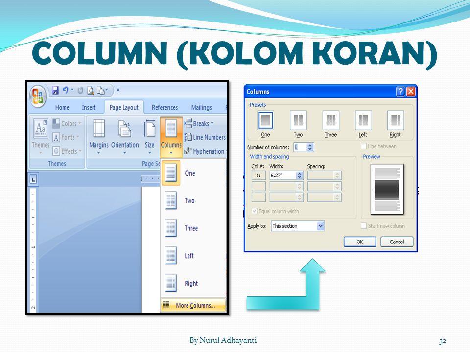 COLUMN (KOLOM KORAN) By Nurul Adhayanti
