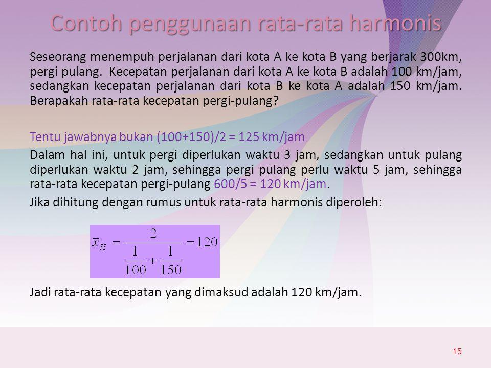 Contoh penggunaan rata-rata harmonis