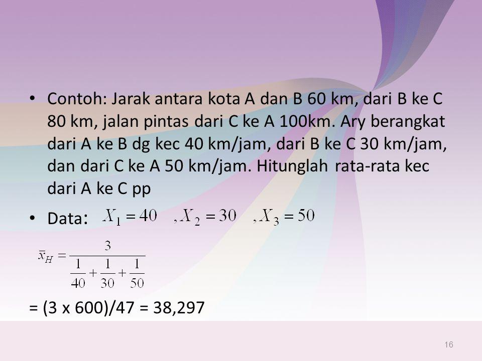 Contoh: Jarak antara kota A dan B 60 km, dari B ke C 80 km, jalan pintas dari C ke A 100km. Ary berangkat dari A ke B dg kec 40 km/jam, dari B ke C 30 km/jam, dan dari C ke A 50 km/jam. Hitunglah rata-rata kec dari A ke C pp