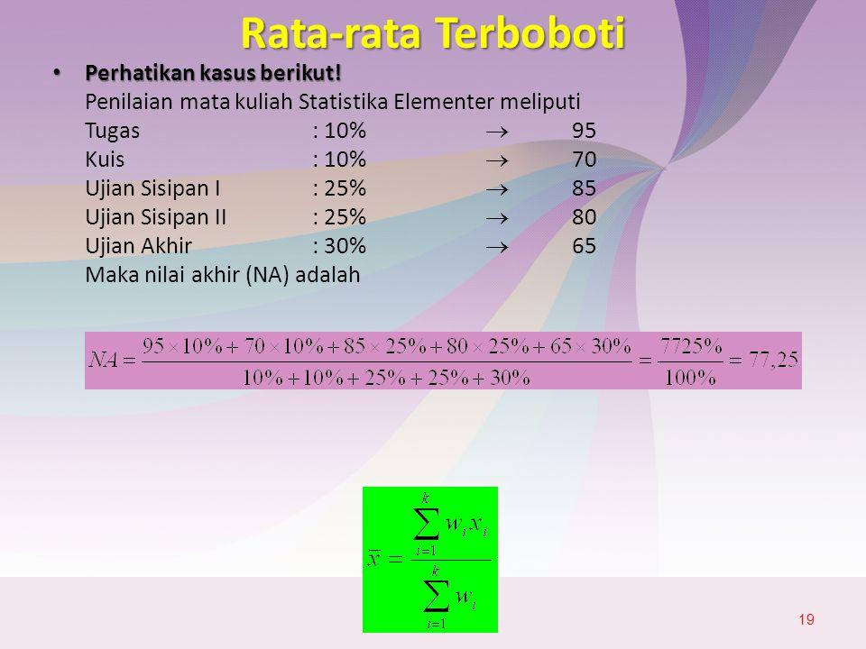 Rata-rata Terboboti Perhatikan kasus berikut! Penilaian mata kuliah Statistika Elementer meliputi.