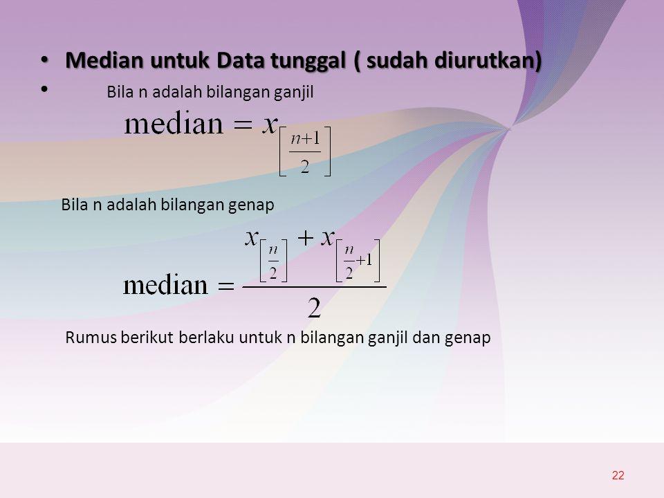 Median untuk Data tunggal ( sudah diurutkan)