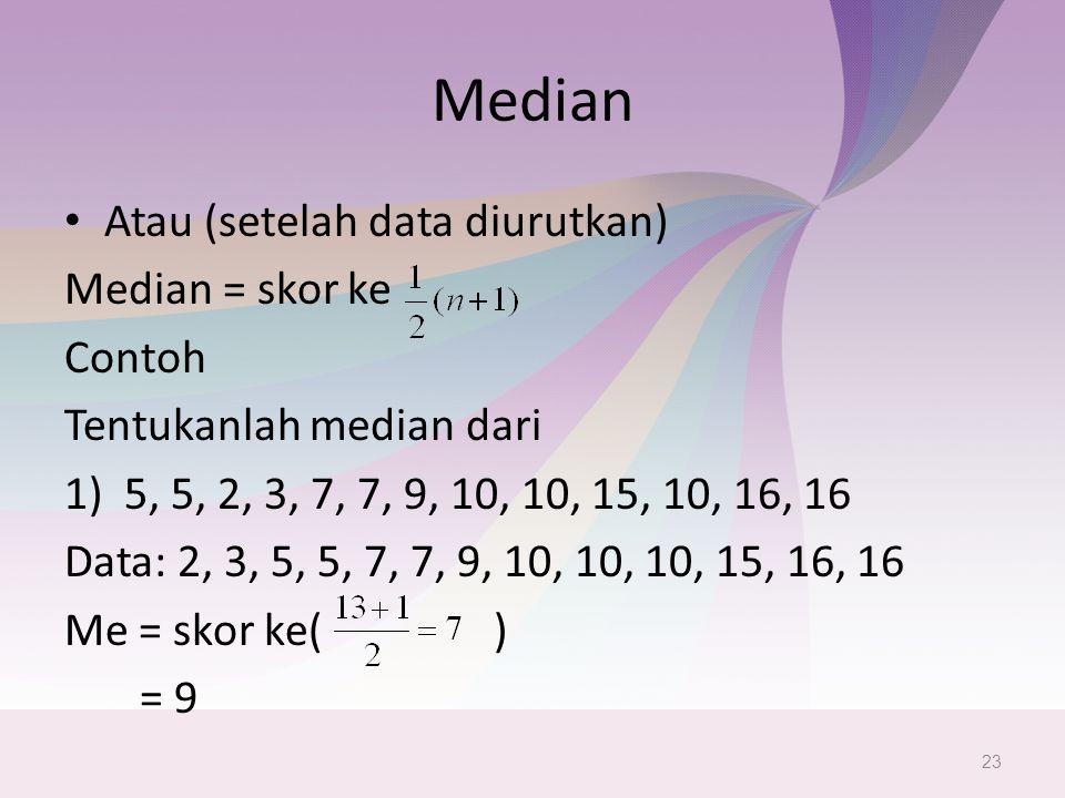 Median Atau (setelah data diurutkan) Median = skor ke Contoh