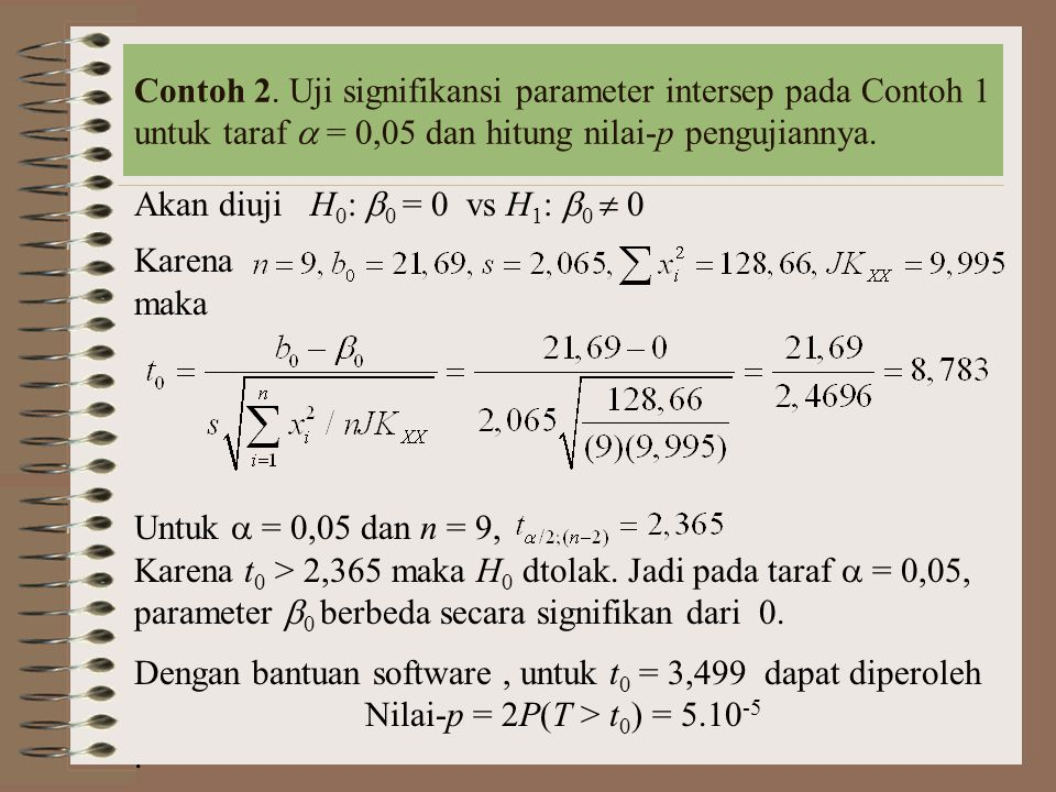 Contoh 2. Uji signifikansi parameter intersep pada Contoh 1 untuk taraf  = 0,05 dan hitung nilai-p pengujiannya.