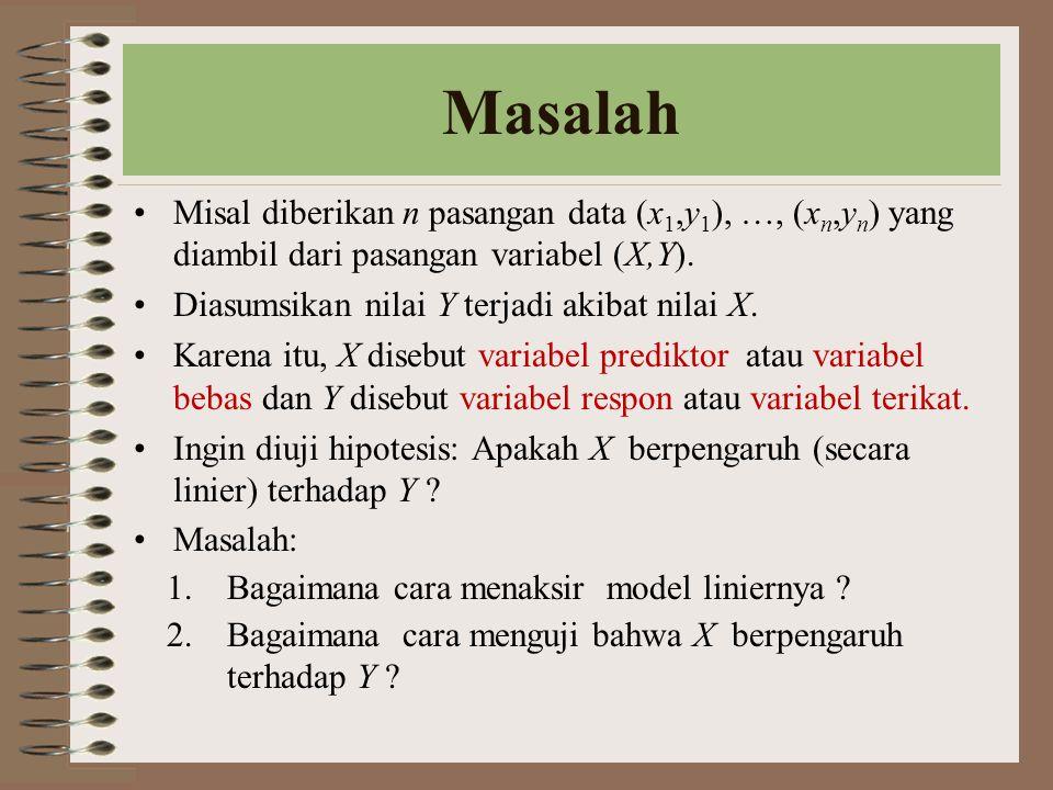 Masalah Misal diberikan n pasangan data (x1,y1), …, (xn,yn) yang diambil dari pasangan variabel (X,Y).