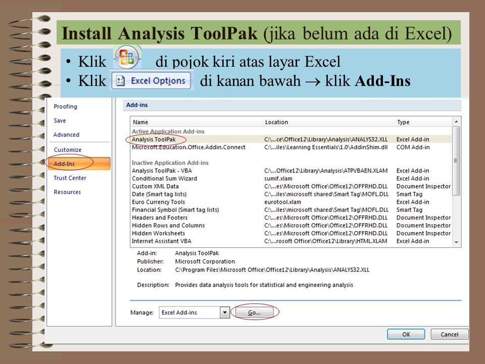 Install Analysis ToolPak (jika belum ada di Excel)