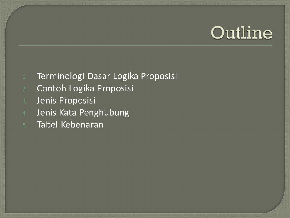 Outline Terminologi Dasar Logika Proposisi Contoh Logika Proposisi