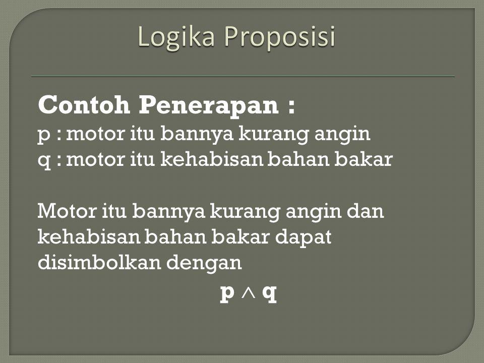 Logika Proposisi Contoh Penerapan : p  q