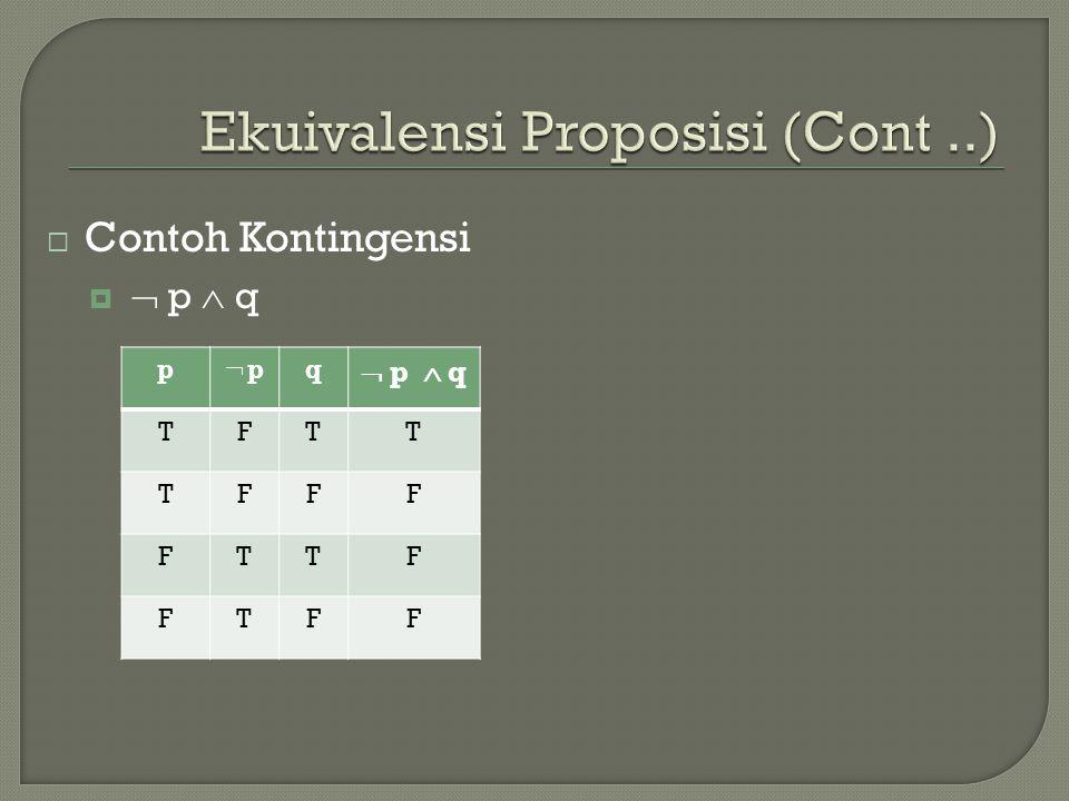 Ekuivalensi Proposisi (Cont ..)
