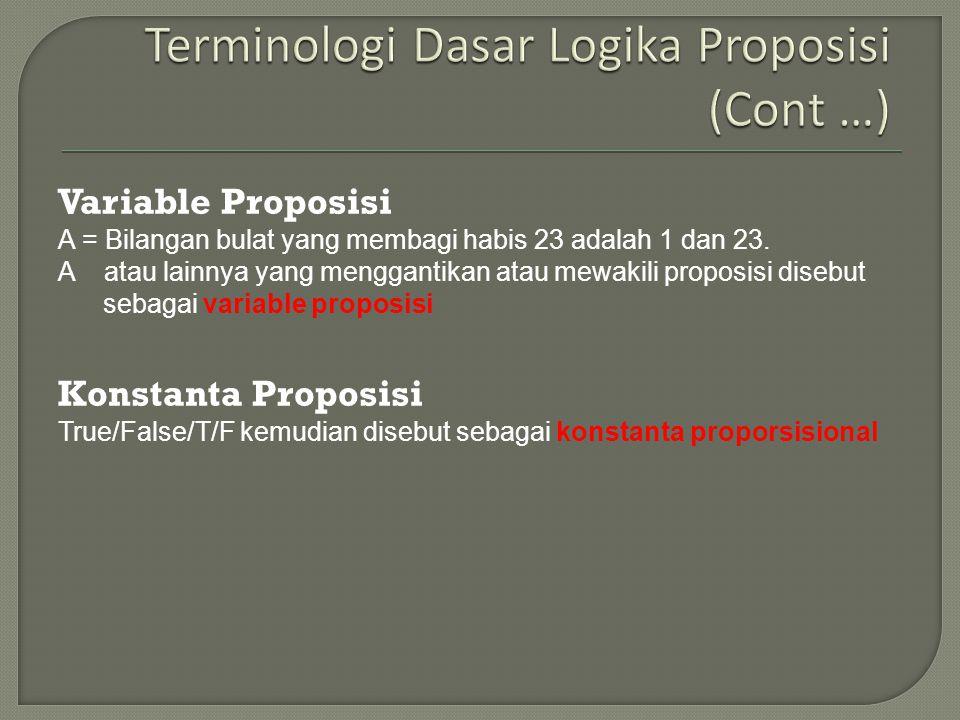 Terminologi Dasar Logika Proposisi (Cont …)