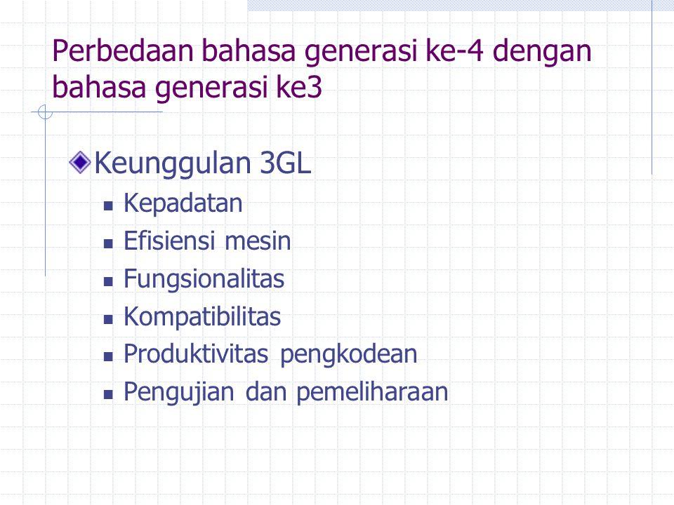 Perbedaan bahasa generasi ke-4 dengan bahasa generasi ke3