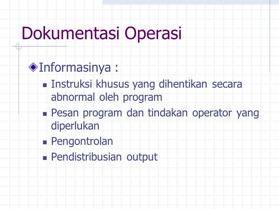 Dokumentasi Operasi Informasinya :