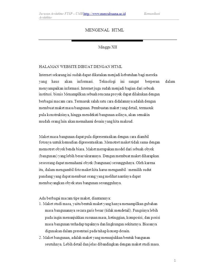 Minggu XII HALAMAN WEBSITE DIBUAT DENGAN HTML