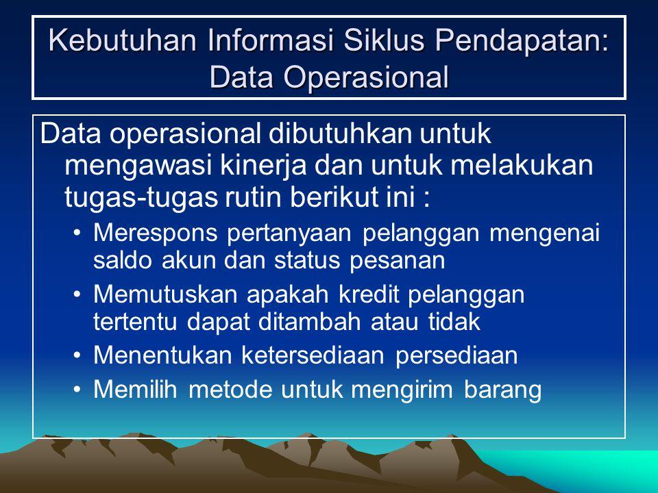 Kebutuhan Informasi Siklus Pendapatan: Data Operasional