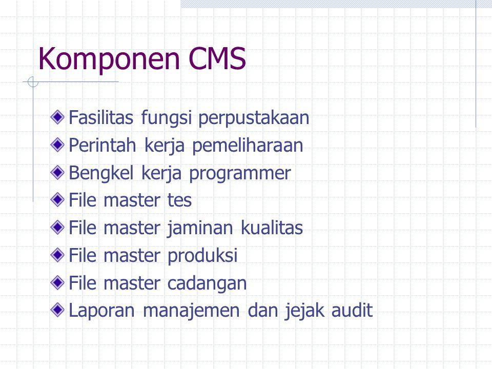 Komponen CMS Fasilitas fungsi perpustakaan Perintah kerja pemeliharaan