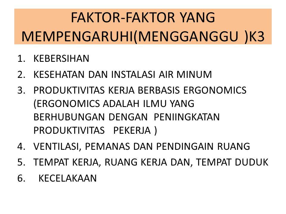 FAKTOR-FAKTOR YANG MEMPENGARUHI(MENGGANGGU )K3