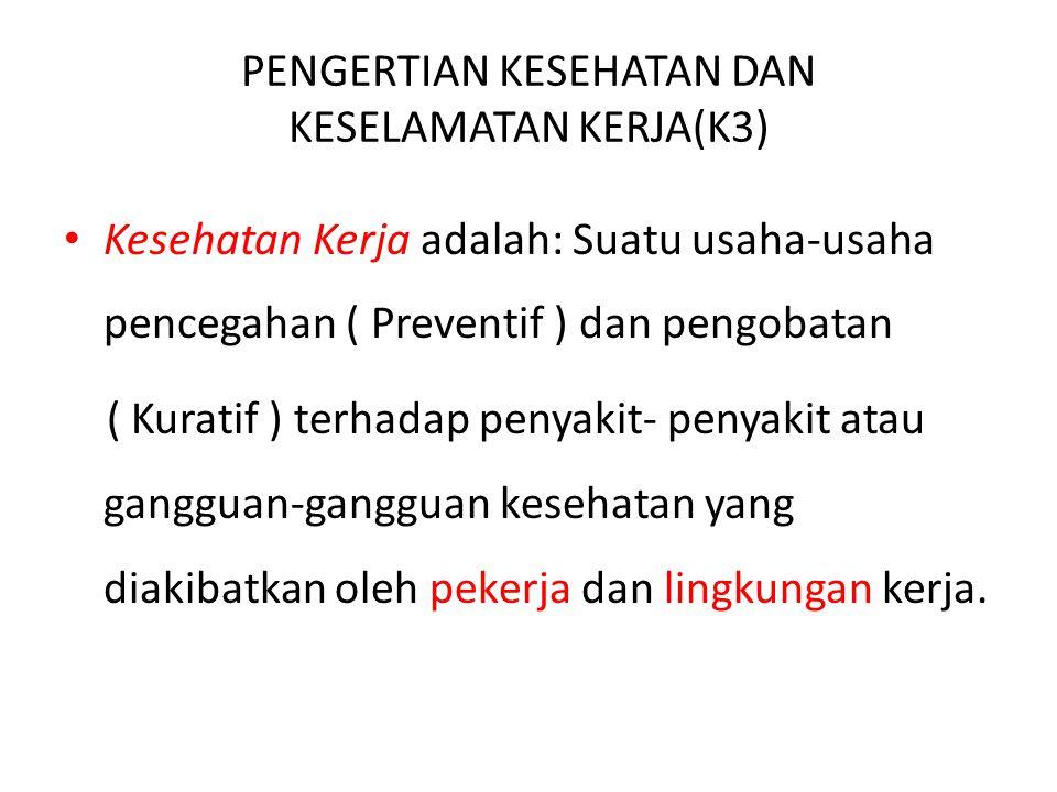 PENGERTIAN KESEHATAN DAN KESELAMATAN KERJA(K3)