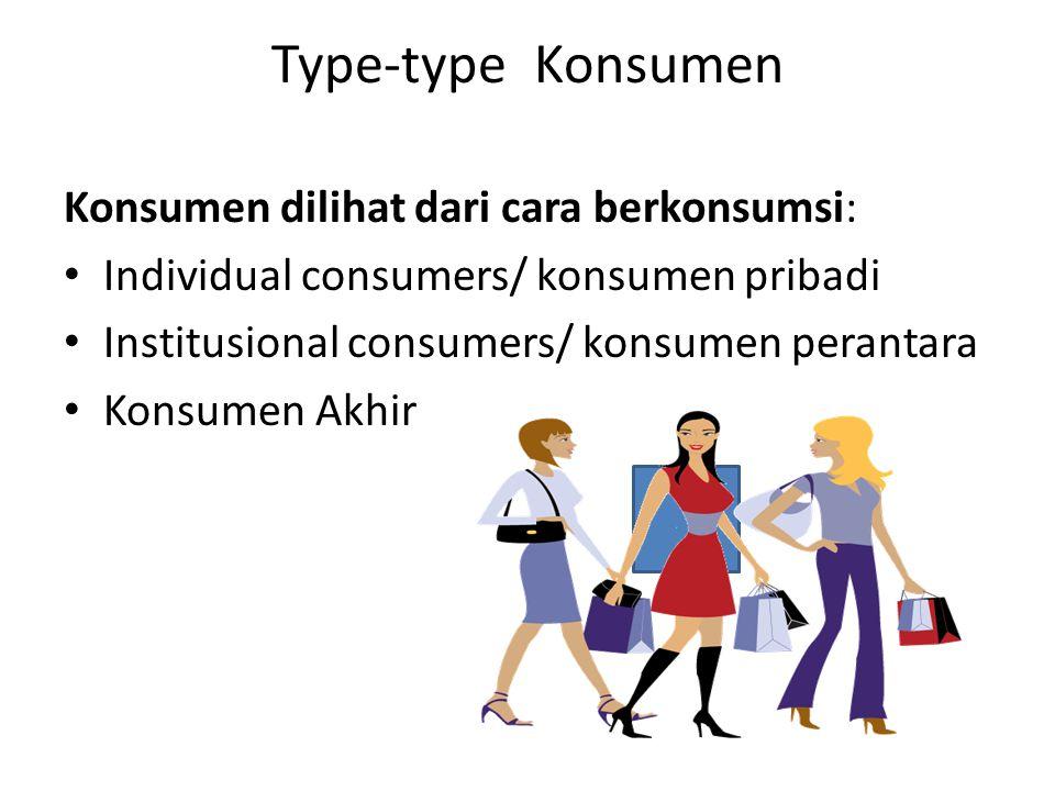 Type-type Konsumen Konsumen dilihat dari cara berkonsumsi: