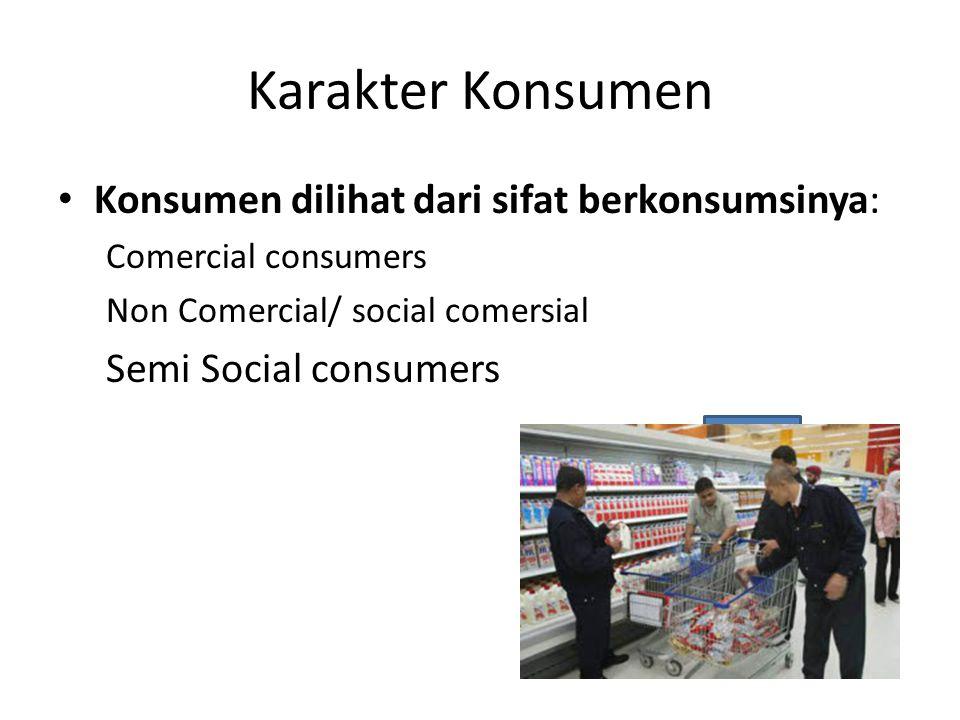Karakter Konsumen Konsumen dilihat dari sifat berkonsumsinya: