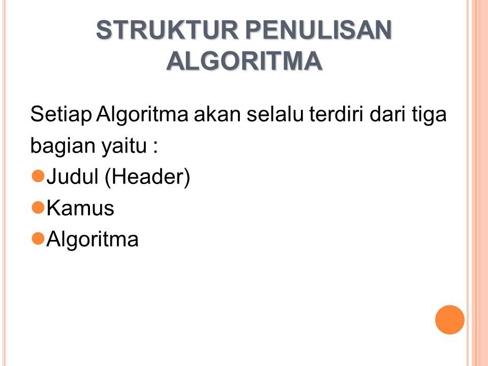 STRUKTUR PENULISAN ALGORITMA