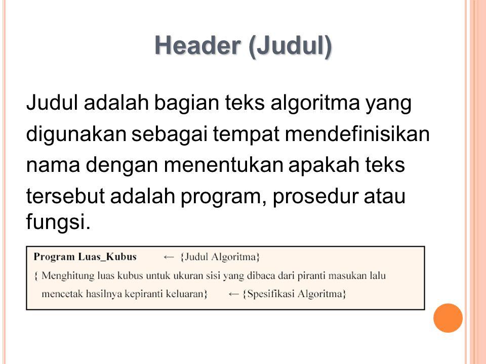 Header (Judul) Judul adalah bagian teks algoritma yang
